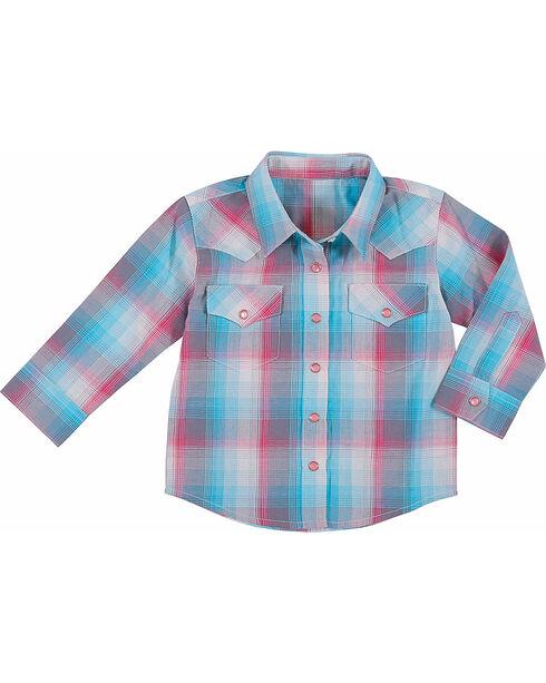 Wrangler Toddler Girls' Raspberry Plaid Long Sleeve Shirt , , hi-res