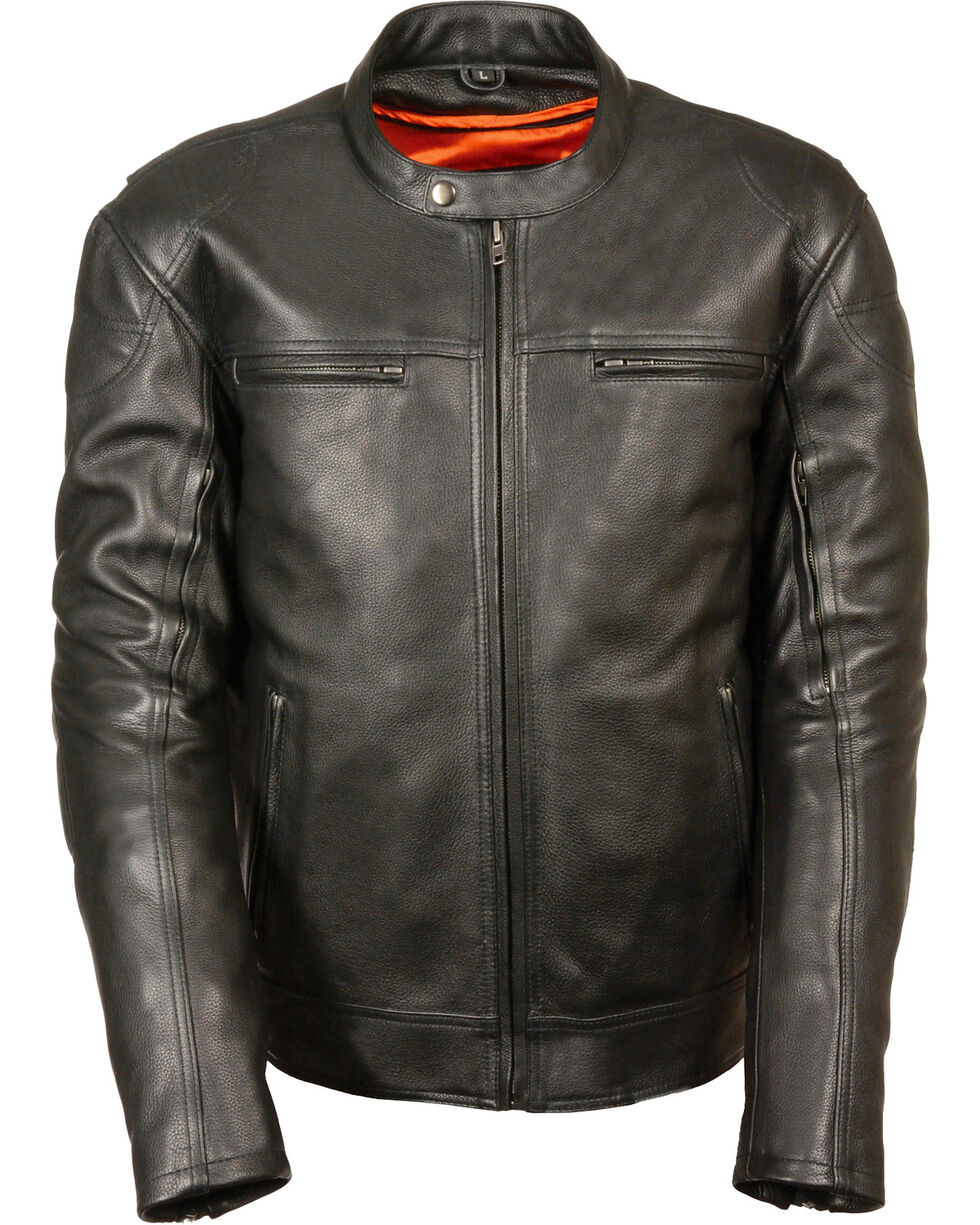 Milwaukee Leather Men's Black Longer Body Vented Jacket - Big 5X, Black, hi-res