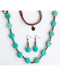 West & Co. Women's Copper Bead Turquoise Disk Jewelry Set, , hi-res