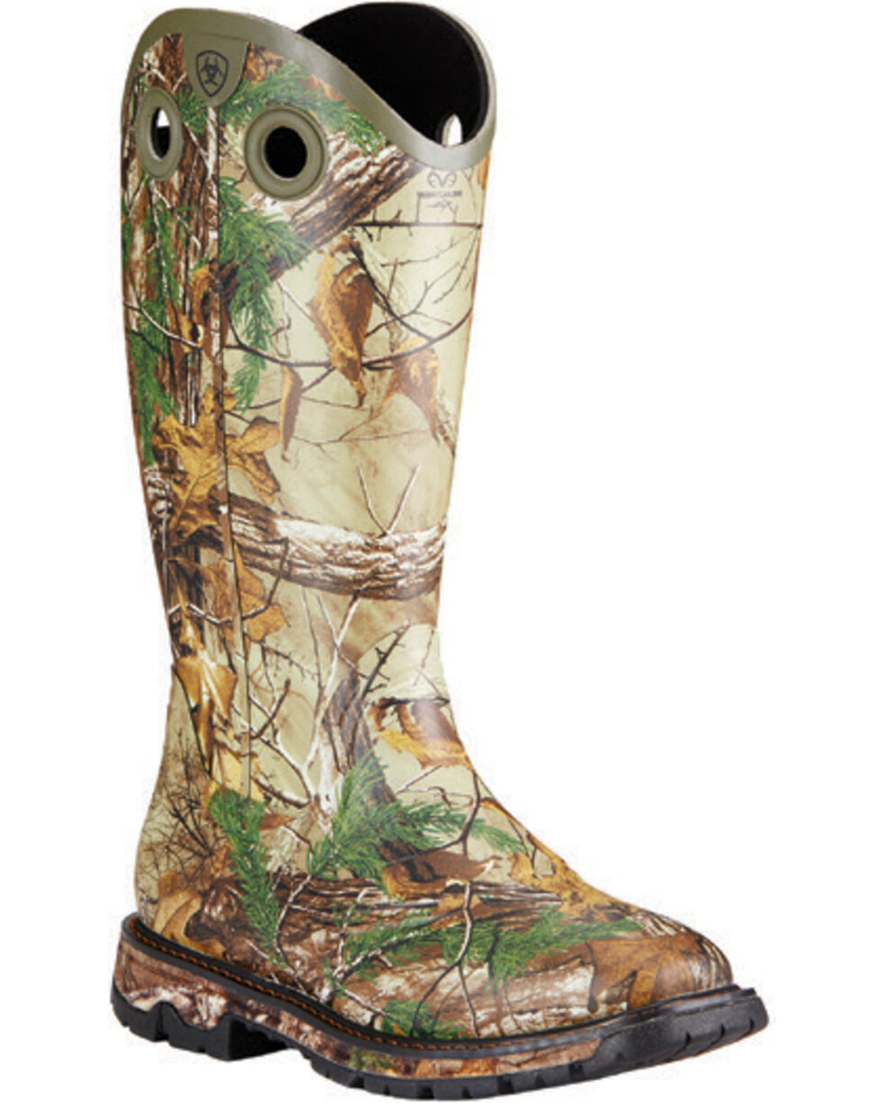Ariat Men's Conquest Waterproof Insulated Rubber Buckaroo Boots, Camouflage, hi-res