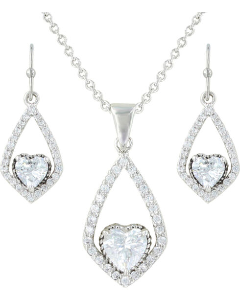 Montana Silversmiths Women's Heart Jewelry Set, Silver, hi-res