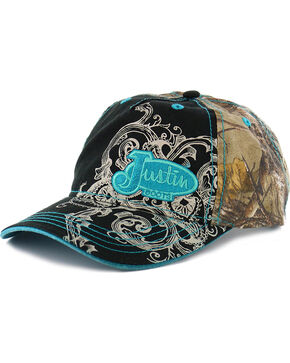 Justin Women's Camo Ball Cap, Black, hi-res