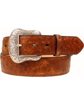 Nocona Men's Ostrich Print Western Belt, Brown, hi-res