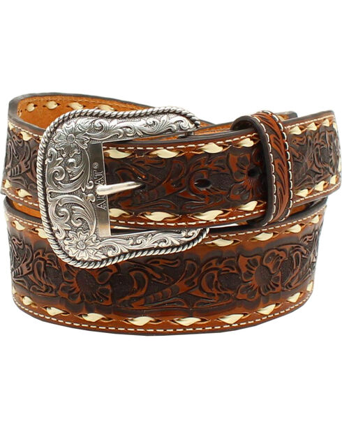 Ariat Men's Floral Emobssed Lacing Belt, Tan, hi-res