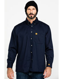 Wrangler Riggs Men's FR Flame Resistant Solid Twill Work Shirt, , hi-res