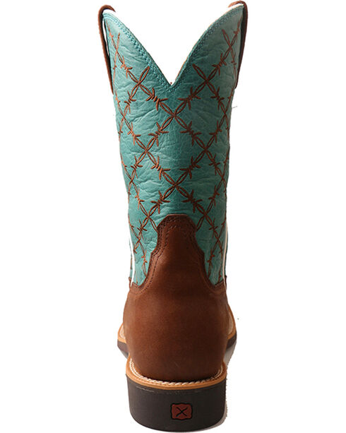 """Twisted X Men's 11"""" Top Hand Barbed Wire Cowboy Boots - Square Toe, Brown, hi-res"""