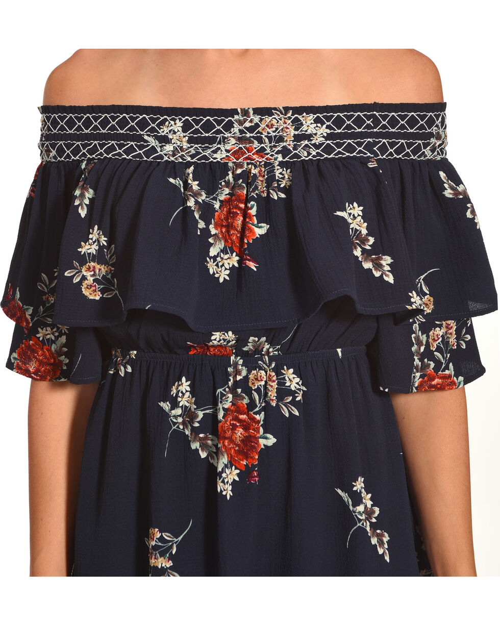 Polagram Women's Off the Shoulder Floral Print Dress, , hi-res