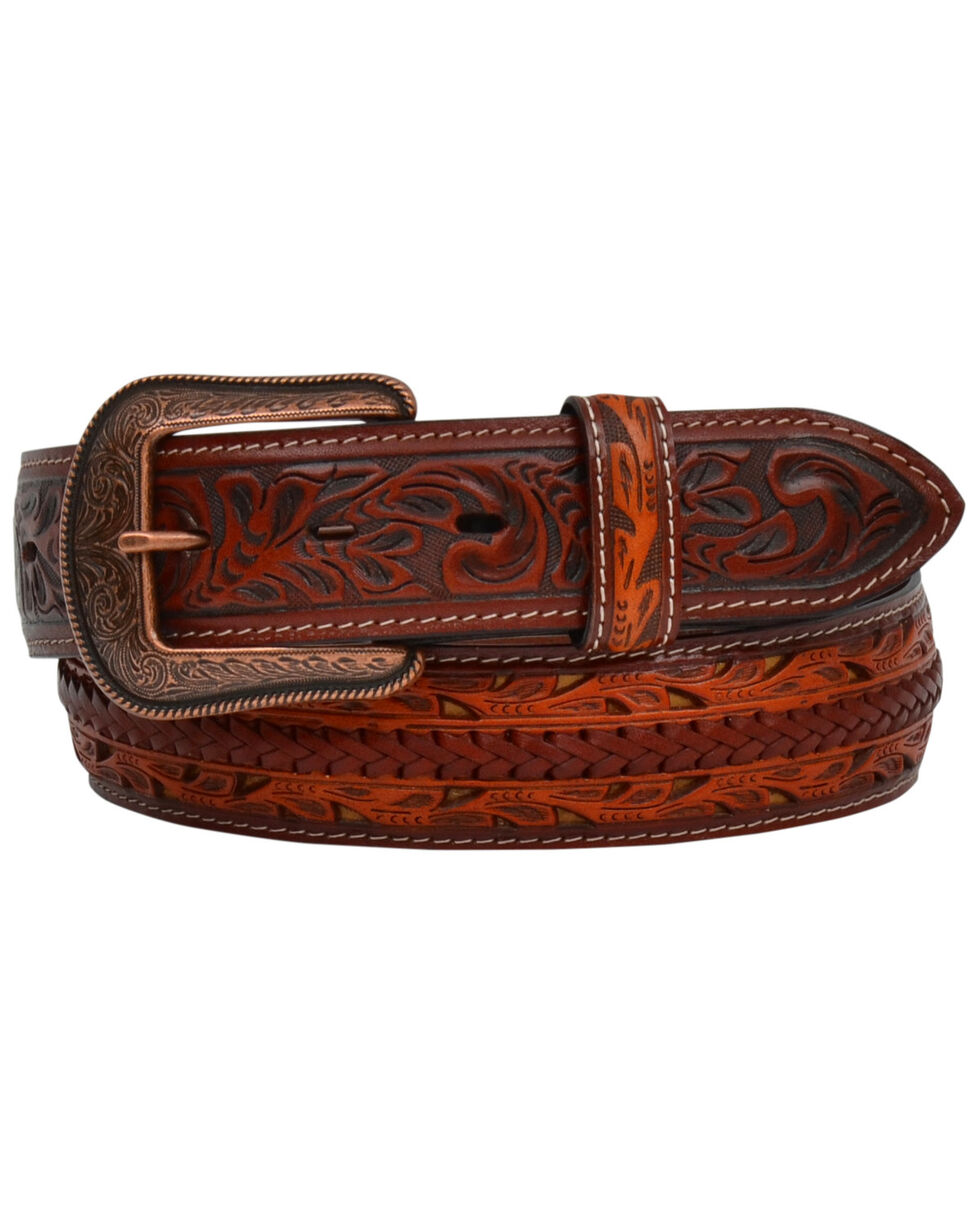 3D Men's Braided And Tooled Leather Belt, Brown, hi-res