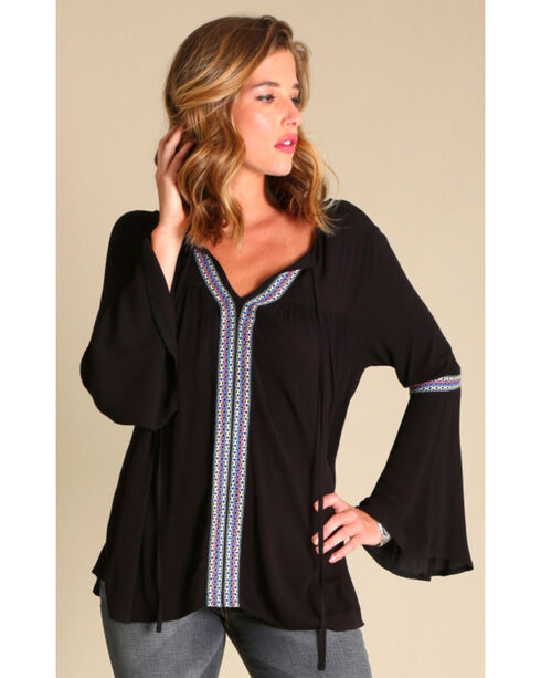 Wrangler Women's Flutter Sleeve with Taping Solid Top, Black, hi-res