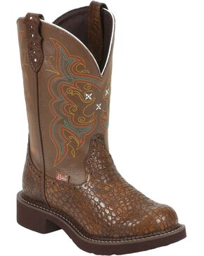 Justin Gypsy Women's Pearl Print Western Boots, Brown, hi-res