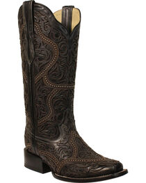 Corral Women's Black Full Overlay Studs Cowgirl Boots - Square Toe, , hi-res