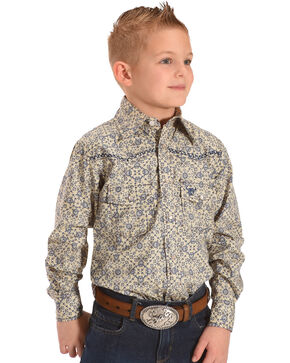 Cowboy Hardware Boys' Scroll Print Embroidered Long Sleeve Snap Shirt, Beige/khaki, hi-res