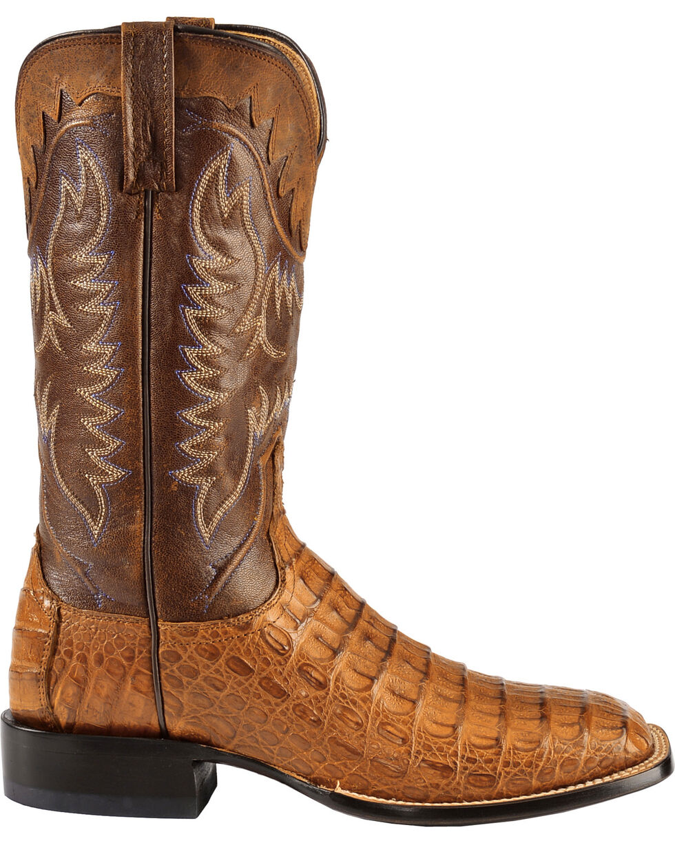 Lucchese Men's Rhys Hornback Caiman Exotic Western Boots, Tan, hi-res