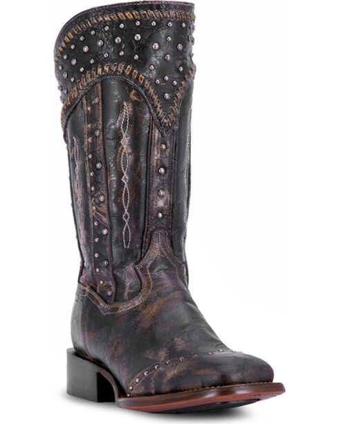 Dan Post Women's Black Amped Studded Zipper Boots - Square Toe , , hi-res