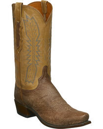 Lucchese Men's Harrison Tan Sueded Sheep Western Boots - Square Toe, Tan, hi-res