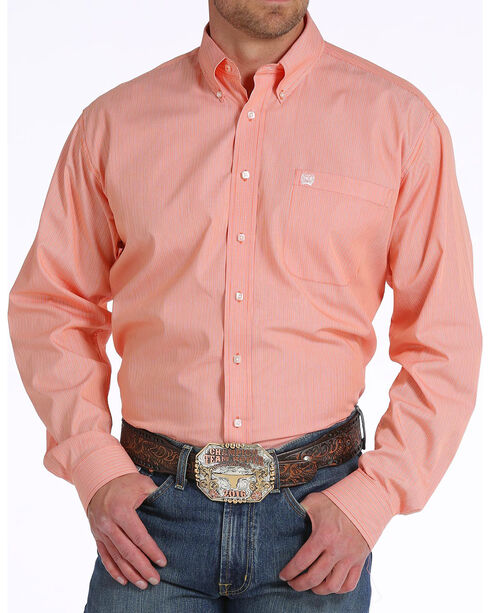 Cinch Men's Orange Classic Fit Striped Shirt , Orange, hi-res