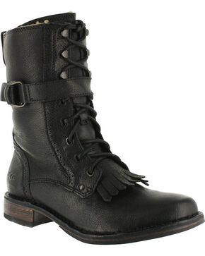 UGG Women's Black Jenna Military Boots - Round Toe , Black, hi-res
