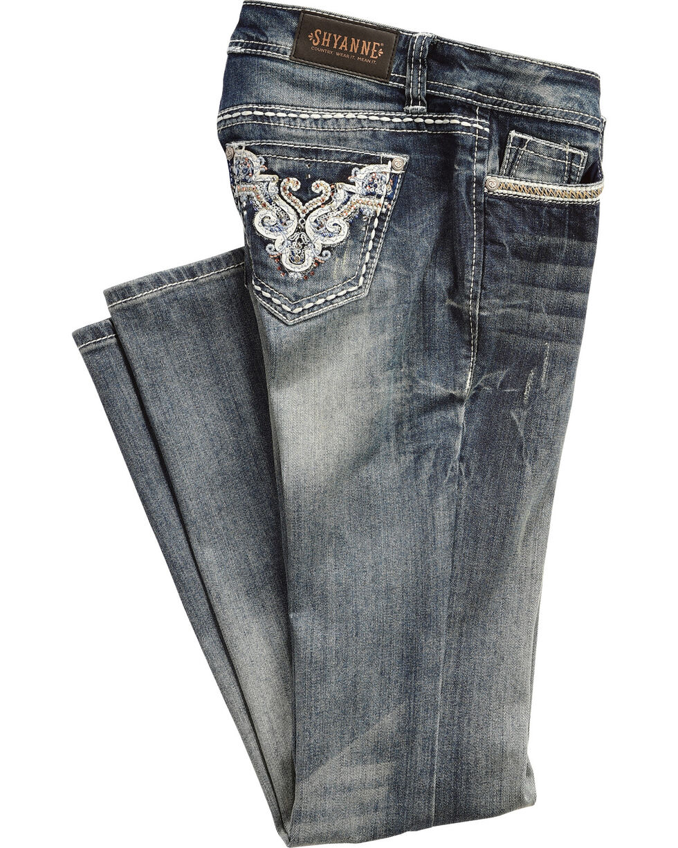 Shyanne® Women's Sequin Embroidered Boot Cut Jeans, , hi-res