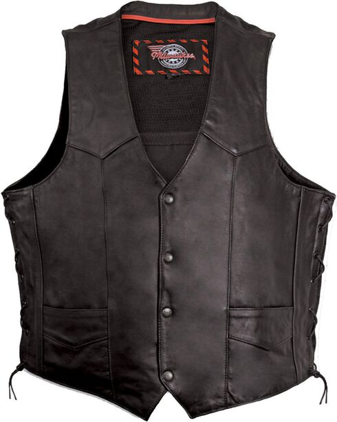 Milwaukee Motorcycle Classic Leather Vest, Black, hi-res