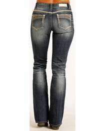 Rock & Roll Cowgirl Women's Indigo Multi-Color Stitch Mid-Rise Jeans - Boot Cut, , hi-res