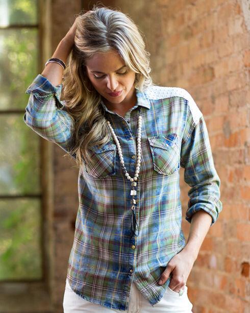 Ryan Michael Women's Indigo Plaid & Eyelet Top, Indigo, hi-res