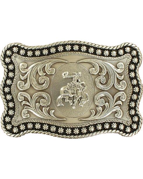 Nocona Men's Silver Bronc Rider Belt Buckle, Silver, hi-res