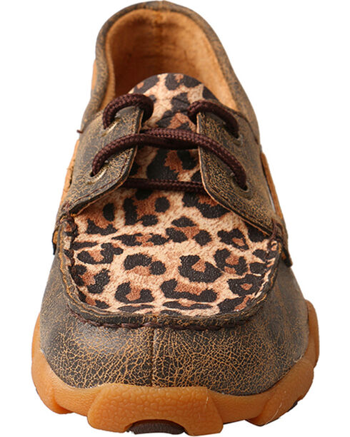 Twisted X Kids' Leopard Printed Moccasins, Brown, hi-res