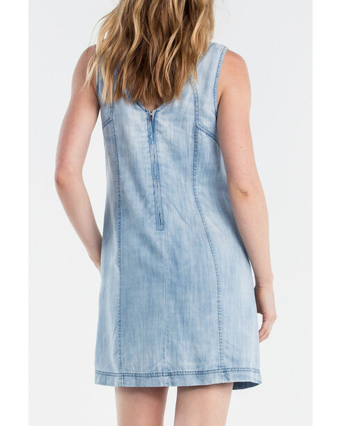 Miss Me Women's Indigo Denim Front Tie Sleeveless Dress, Indigo, hi-res