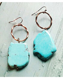 Jewelry Junkie Chunky Blue Turquoise Earrings, , hi-res