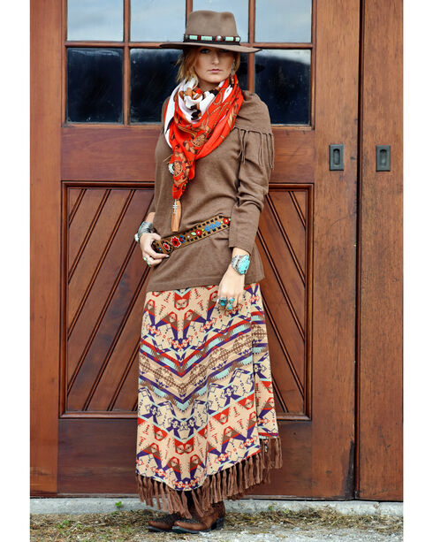 Tasha Polizzi Women's Harvest Blanket Skirt , Brown, hi-res