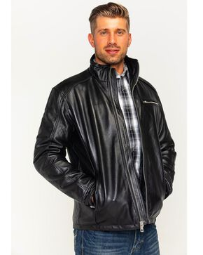 China Leather Men's Lambskin Racing Jacket, Black, hi-res