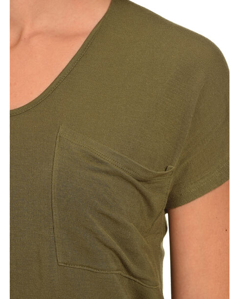 Derek Heart Women's Single Pocket Hi/Low Shirttail Hem Tee, Olive, hi-res