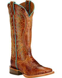Ariat Women's Vaquera Square Toe Western Boots, Tan, hi-res