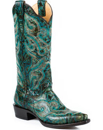 Stetson Women's Vintage Marbled Western Boots, , hi-res