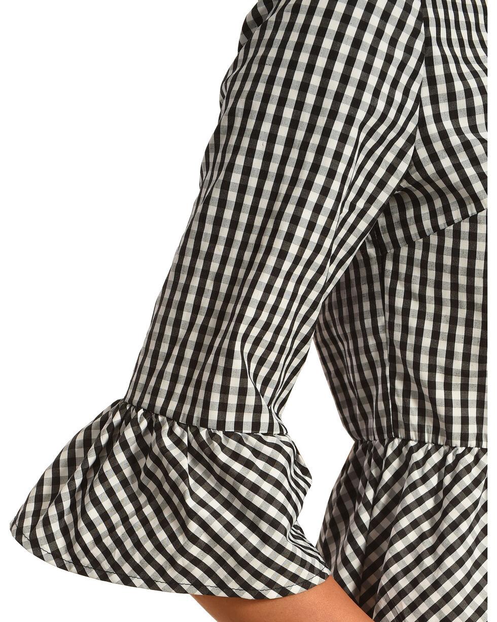 Ces Femme Women's Small Plaid Pattern Tie Back Dress, Black, hi-res