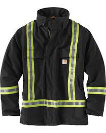 Carhartt Men's Black High-Visibility Striped Duck Traditional Coat, , hi-res