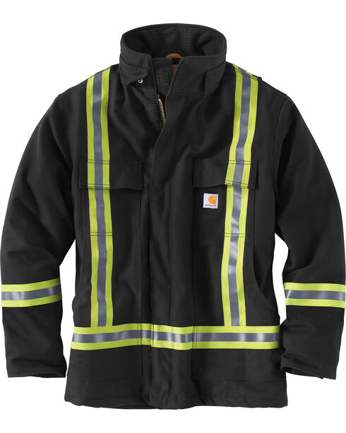Carhartt Men's Black High-Visibility Striped Duck Traditional Coat, Black, hi-res