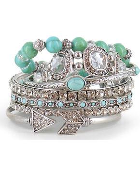 Shyanne Women's Turquoise Bangle Bracelet Set, Silver, hi-res