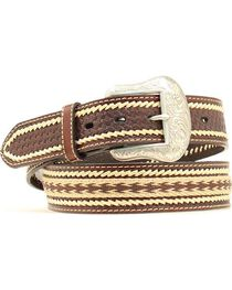 Nocona Basketweave with Leather Whipstitching Embroidered Belt, , hi-res
