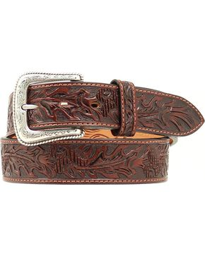 Nocona Tooled Leather Belt, Brown, hi-res