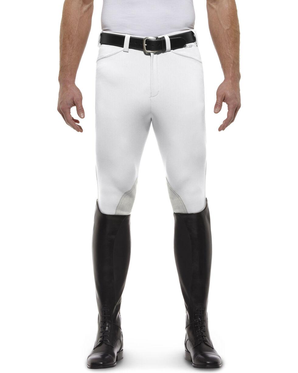 Ariat Men's Olympia Front Zip Knee Pad Riding Breeches, White, hi-res