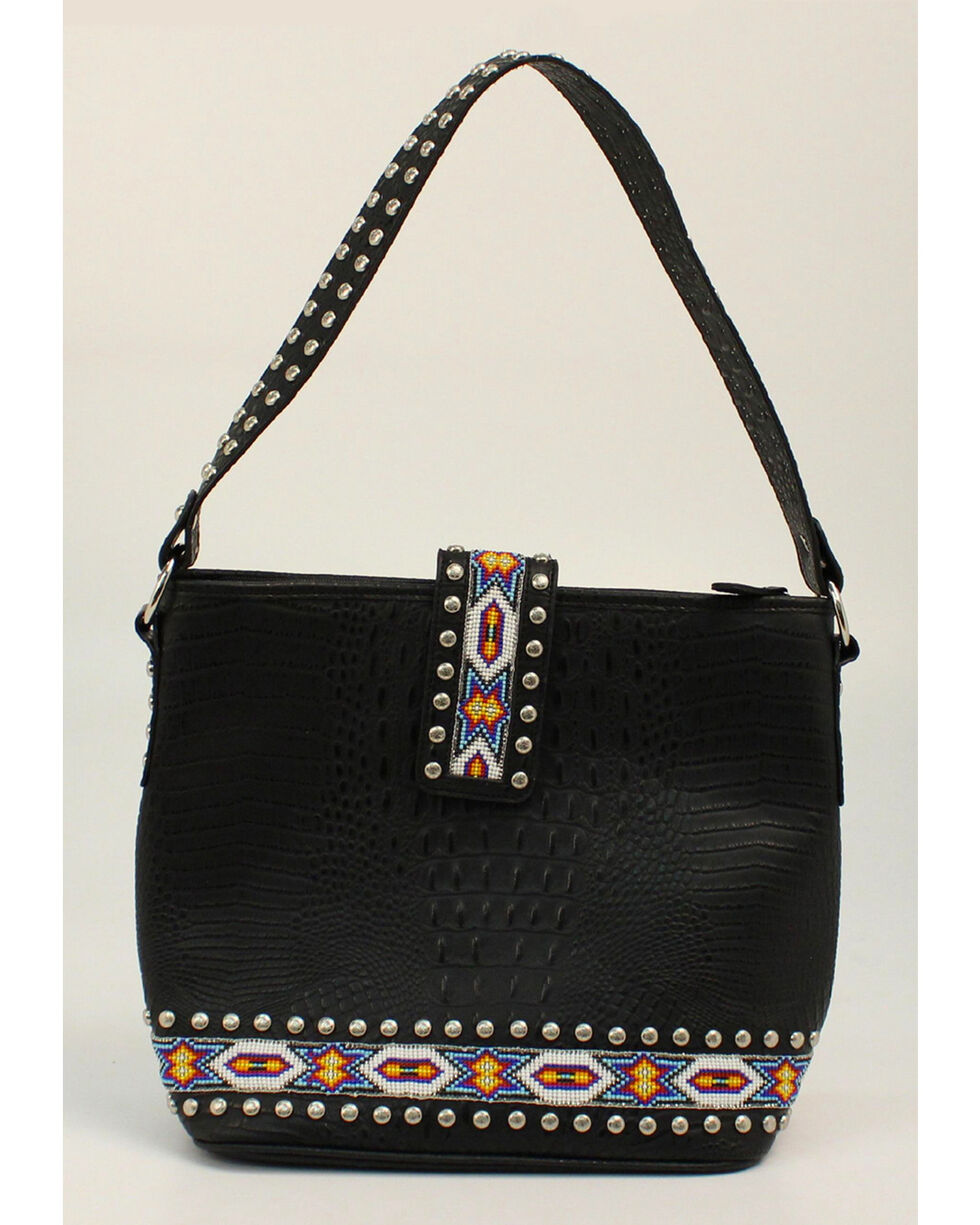 Blazin Roxx Bead Ribbon Black Shoulder Bag, Black, hi-res
