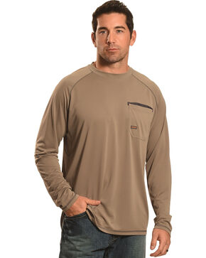 Ariat Men's Rebar Sun Stopper Long Sleeve Shirt, Brown, hi-res