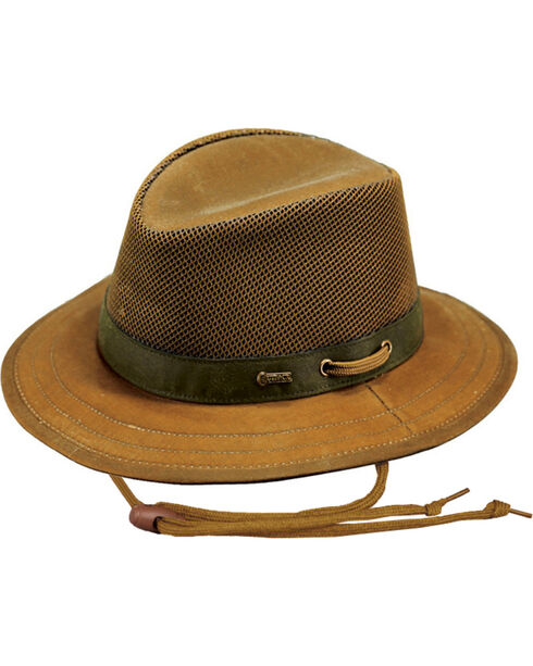 Outback Unisex Oilskin Willis with Mesh Hat, Tan, hi-res