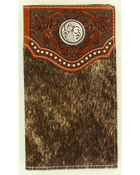 Ariat Calf Hair Concho Rodeo Wallet, Brown, hi-res