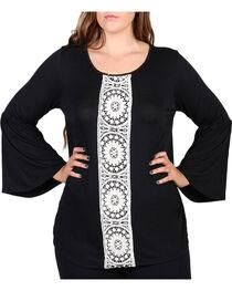 Forgotten Grace Women's Plus Size Center Lace Long Sleeve Top, , hi-res