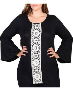 Forgotten Grace Women's Plus Size Center Lace Long Sleeve Top, Black, hi-res