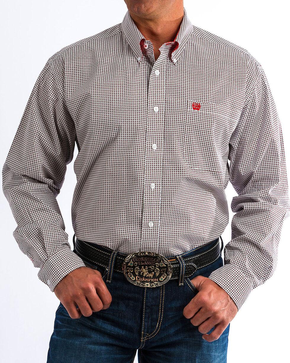 Cinch Men's Basketweave Print Western Shirt , White, hi-res
