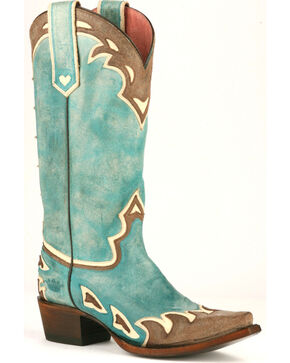 Lane Women's Back 40 Western Boots, Turquoise, hi-res