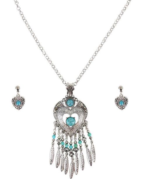 Shyanne® Women's Heart Dreamcatcher Jewelry Set , Silver, hi-res